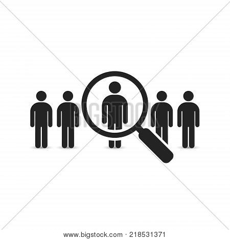 Search for employees and job business human resource. Looking for talent. Search man vector icon. Job search.