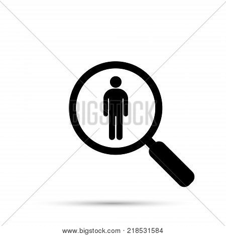 Search for employees and job business human resource. Search man vector icon. Job search.