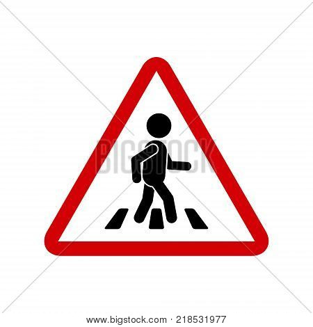 Road red sign with pedestrian on crosswalk vector simple triangular symbol. Pedestrian crossing icon.