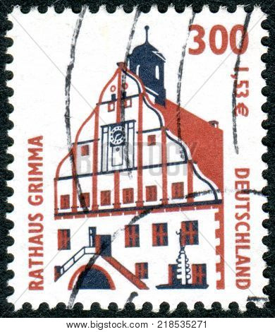 GERMANY - CIRCA 2000: A stamp printed in Germany shows a Townhall Grimma circa 2000