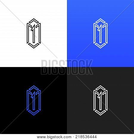 Linear box logo with number one. Vector illustration box 1, logotype, icon, sign, symbol with blue color template.