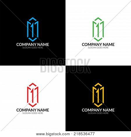 Colorful box logo with number one. Vector illustration box 1, logotype, icon, sign, symbol.