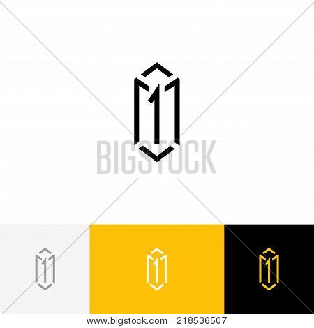 Sign, symbol of box and letter one. Vector logo illustration box 1, icon with yellow color template.