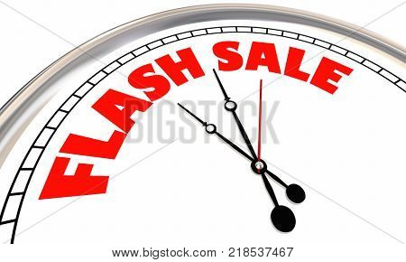 Flash Sale Clock Limited Time Special Offer Deal 3d Illustration