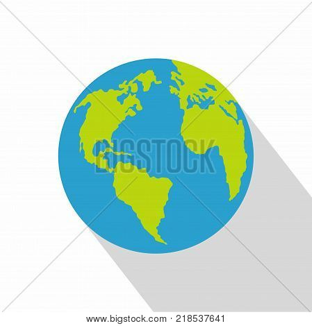Continent on planet icon. Flat illustration of continent on planet vector icon for web