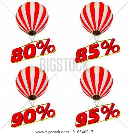 Percentage fly in a balloon. Set of 80;85;90;95 percentage flies on a hot air balloon. Isolated. 3D Illustration