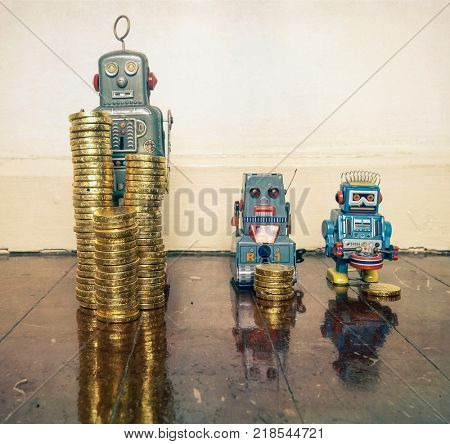 three vintage robots  with gold money on a wooden floor with reflection ,concept inequality,.