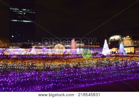 Bangkok Thailand December 16, 2017 :  ambiance of traveler visit and watch LED light show in Thailand illumination festival 2017 on night