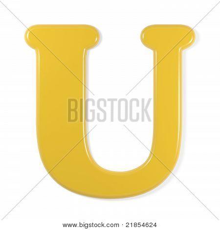 yellow font - letter u