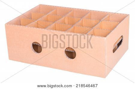 Cardboard box and partitions isolated on white background with clipping path.