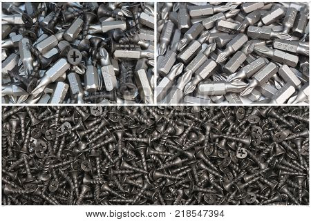 Construction bits. Bits different types. Construction and repair.