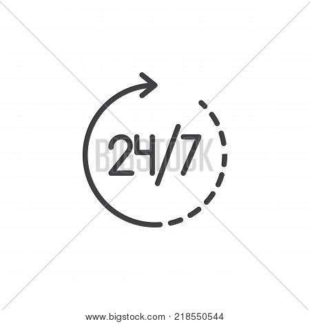 24 hours in 7 days week available service icon vector, filled flat sign, solid pictogram isolated on white. 24 7 all day working time symbol, logo illustration.