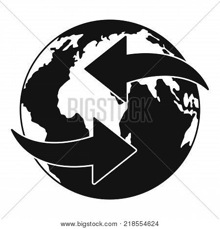 Moving earth icon. Simple illustration of moving earth vector icon for web