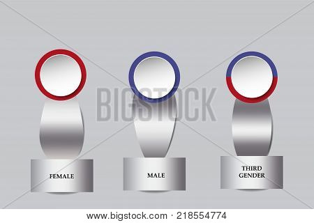 Silver metallic infographs showing male female and third gender ready for your text