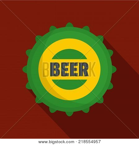 Beer cap icon. Flat illustration of beer cap vector icon for web