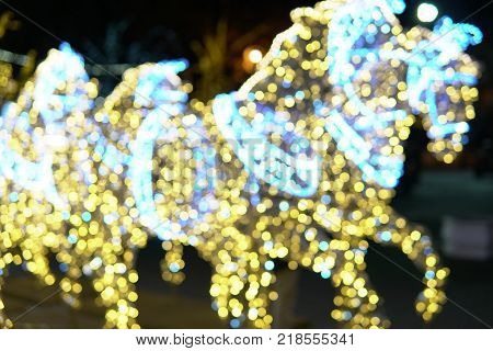 horses with lights Garland Bokeh Christmas new year 1