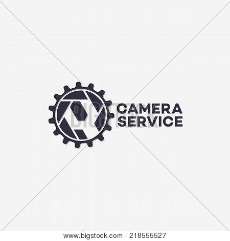 Camera service logo template design with cogwheel. Vector illustration.