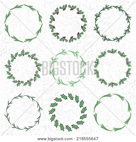 Set of 9 Christmas wreaths made from mistletoe and fir branches