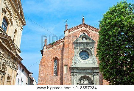 Italy Piedmont Casale Monferrato the facade of the San Domenico church