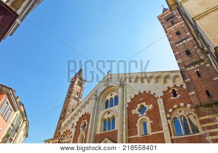 Italy Piedmont Casale Monferrato upward view of the facade of the Duomo