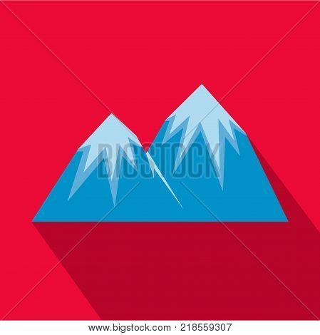 Snow peak icon. Flat illustration of snow peak vector icon for web