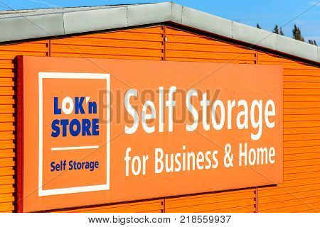 Northampton, UK - Oct 25, 2017: Day view of LOKn Store Self Storage for business and home logo at Riverside Retail Park.