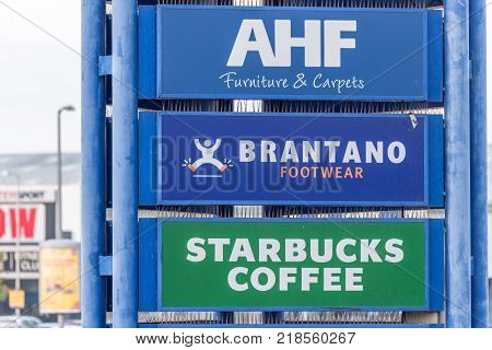 Northampton, UK - Oct 26, 2017: View of AFH Brantano Starbucks Logo in Nene Valley Retail Park.