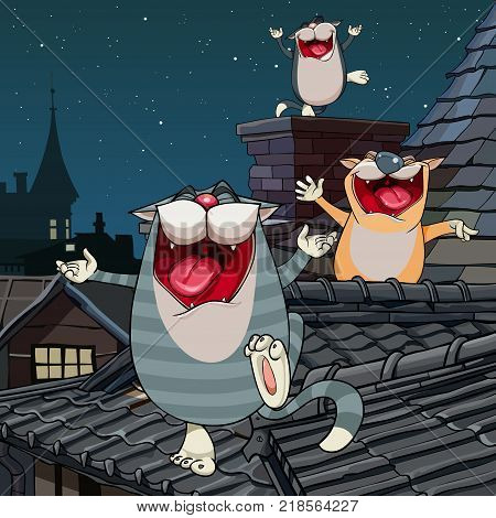 cartoon funny three cats yelling on the roof at night