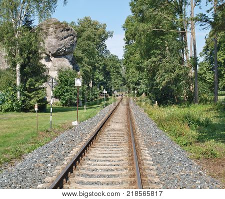 railway line near the National Nature Reserve Adrspach-Teplice Rocks Eastern Bohemia Czech Republic