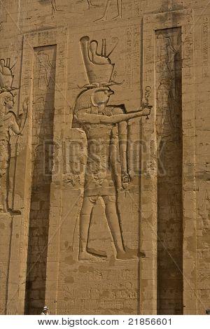 God Horus relief in ancient Edfu temple in Egypt