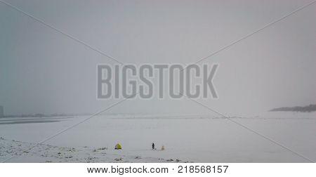 fishing on a large river in winter the river Ob Nizhnevartovsk