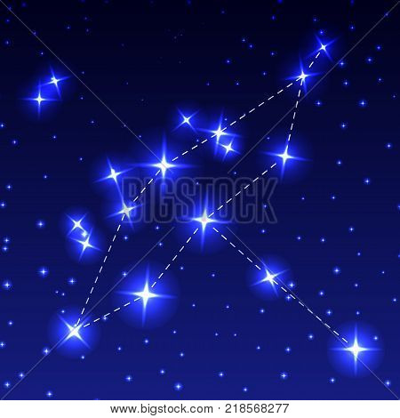 The Constellation Of Cygnus in the night starry sky. Vector illustration of the concept of astronomy