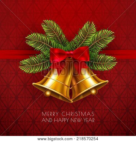 Jingle bells, winter gold vector bell with red bow and fir tree branches. Merry christmas and happy new year greeting card in traditional style. Christmas decoration element template