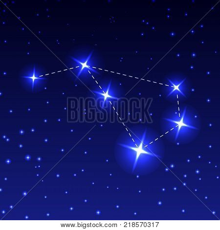 The constellation of the flying fish in the night starry sky. Vector illustration of the concept of astronomy