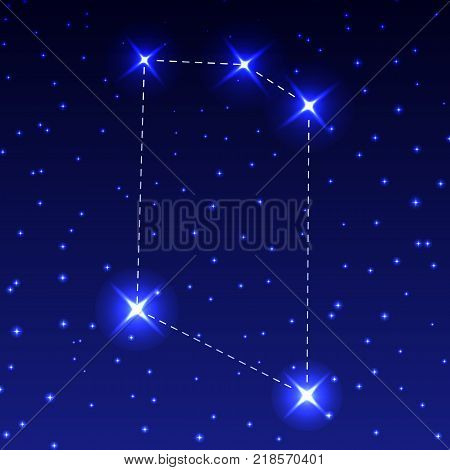 The Constellation Of The Microscope in the night starry sky. Vector illustration of the concept of astronomy
