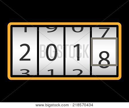 Counter. Happy New Year 2018. retro golden clock