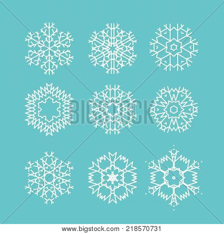set of line vector snowflakes icons. Beautiful modern snowflakes isolated on blue backgronud. Vector stock illustration