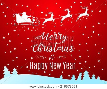Vector Illustration of Santa Claus Driving in a Sledge. Merry CHristmas and Happy New Year lettering background.