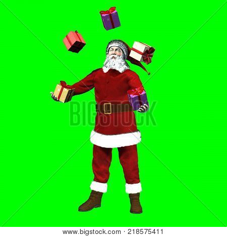 3D rendering on chroma key background of Santa Claus making the joke with gift boxes