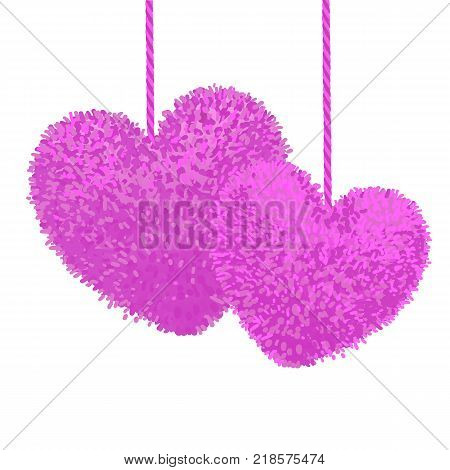 Vector colorful illustration of two fluffy pom-pom in the shape of a heart hanging on the rope, isolated on white background. Decorative elements for Valentines day design.