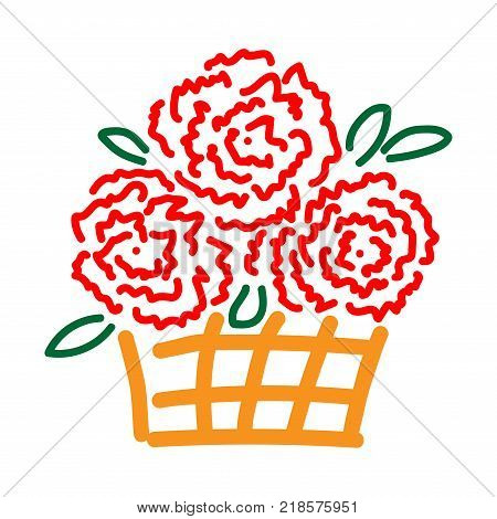 Roses in basket sign. Beautiful colorful icon isolated on white background. Floral surprise symbol. Logo for holiday celebration. Image of elegant present. Mark of decoration for gift. Stock vector
