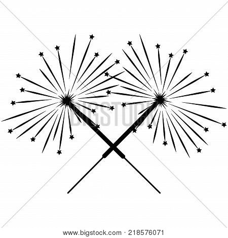 Double sparkler sign with stars. Celebration symbol. Image of bengal light. Beautiful black icon isolated on white background. Logo for holiday celebration. Mark of spark for magic. Stock vector