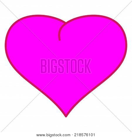 Pink heart sign. Mark of decoration for love. Beautiful colorful icon isolated on white background. Lovely symbol. Image of romance. Logo for romantic holiday celebration. Stock vector illustration