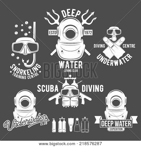 Scuba diving labels set. Underwater swimming logos. Sea dive, spearfishing, vector illustration