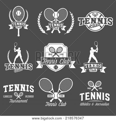 Set of tennis badge logotype template. Club emblem, college league logo, one color design elements, sport tournament, contest, tug, rush, competition.
