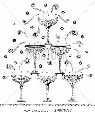 Glass with champagne. Doodle and zentangle style. Hand drawn coloring book. Vector illustration.
