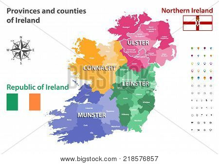 Provinces and counties of Republic of Ireland and Northern Ireland