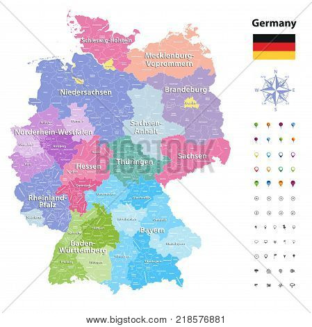 Germany vector map (colored by states and administrative districts) with subdivisions.