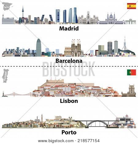 vector illustrations of Madrid, Barcelona, Lisbon and Porto city skylines.Maps and flags of Spain and Portugal