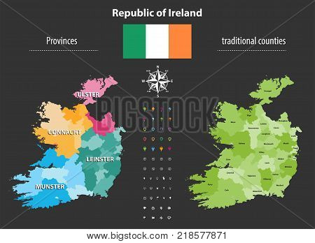 Republic of Ireland provinces and traditional counties vector map